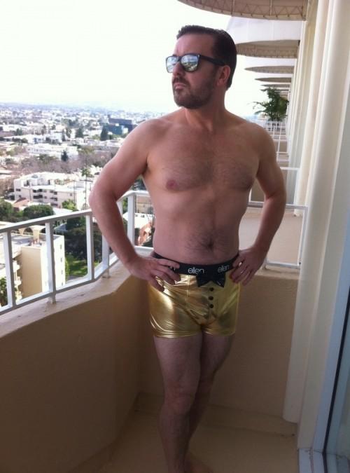 Ricky Gervais in golden Ellen underwear