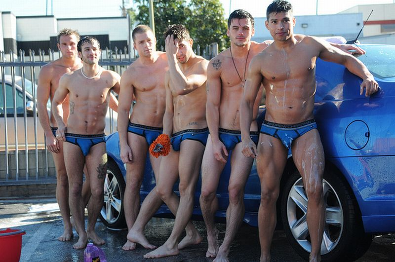 Do you wash your car in blue wet underwear like these gay guys? Sunday, No