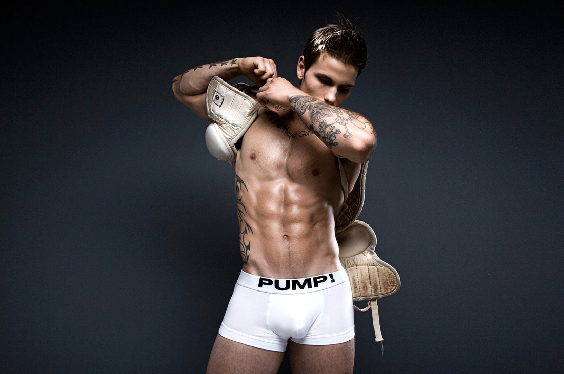 Pump underwear photo shoot by photographer Rick Day.